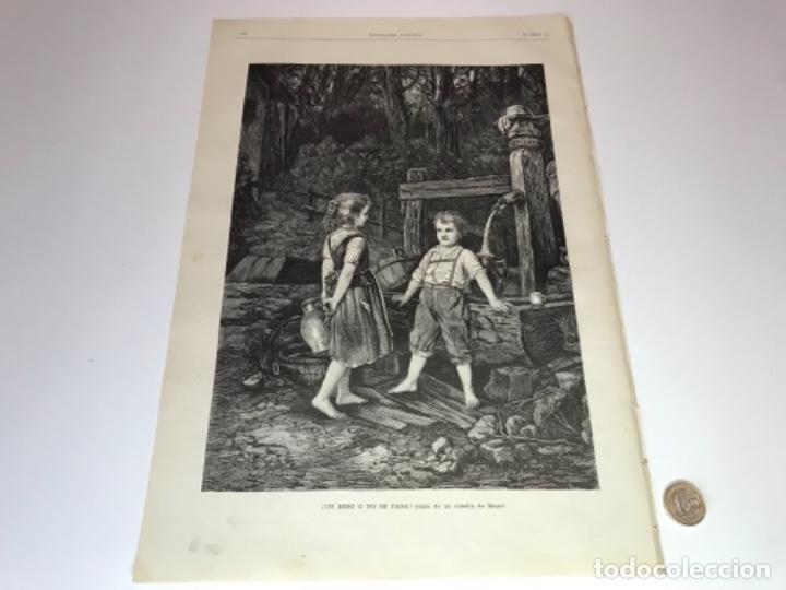 Coleccionismo Recortables: Lote de 52 grabados de Ilustración Artistica de 1882 1883. Fabres, Berta Wegmann, Velázquez, Fortuny - Foto 25 - 139846882