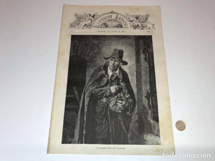 Coleccionismo Recortables: Lote de 52 grabados de Ilustración Artistica de 1882 1883. Fabres, Berta Wegmann, Velázquez, Fortuny - Foto 33 - 139846882