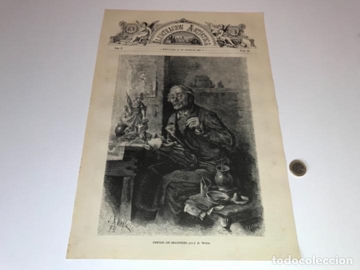 Coleccionismo Recortables: Lote de 52 grabados de Ilustración Artistica de 1882 1883. Fabres, Berta Wegmann, Velázquez, Fortuny - Foto 38 - 139846882