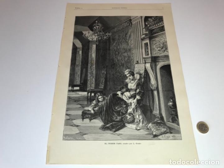 Coleccionismo Recortables: Lote de 52 grabados de Ilustración Artistica de 1882 1883. Fabres, Berta Wegmann, Velázquez, Fortuny - Foto 40 - 139846882