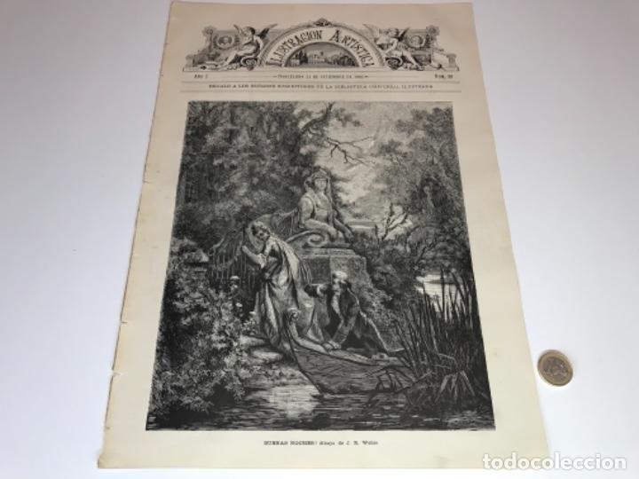 Coleccionismo Recortables: Lote de 52 grabados de Ilustración Artistica de 1882 1883. Fabres, Berta Wegmann, Velázquez, Fortuny - Foto 42 - 139846882