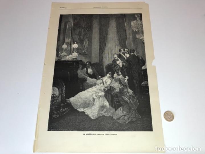 Coleccionismo Recortables: Lote de 52 grabados de Ilustración Artistica de 1882 1883. Fabres, Berta Wegmann, Velázquez, Fortuny - Foto 44 - 139846882