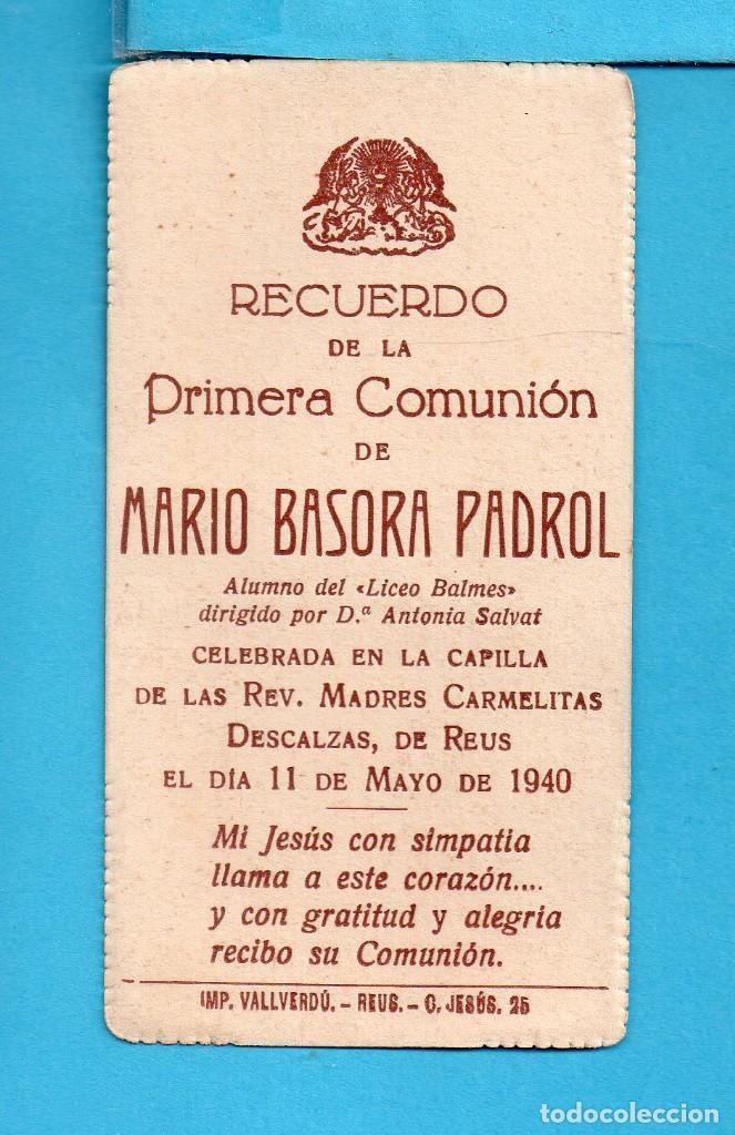 Coleccionismo Recortables: RECORDATORIO DE PRIMERA COMUNIÓN EN MADRES CARMELITAS DESCALZAS DE REUS AÑO 1940 - Foto 2 - 140502302