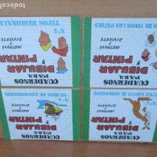 Coleccionismo Recortables: LOTE DE 4 CUADERNOS PARA PINTAR. Lote 96642387