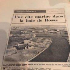 Coleccionismo Recortables: RECORTE AMPURIA BRAVA 1969. Lote 152402582