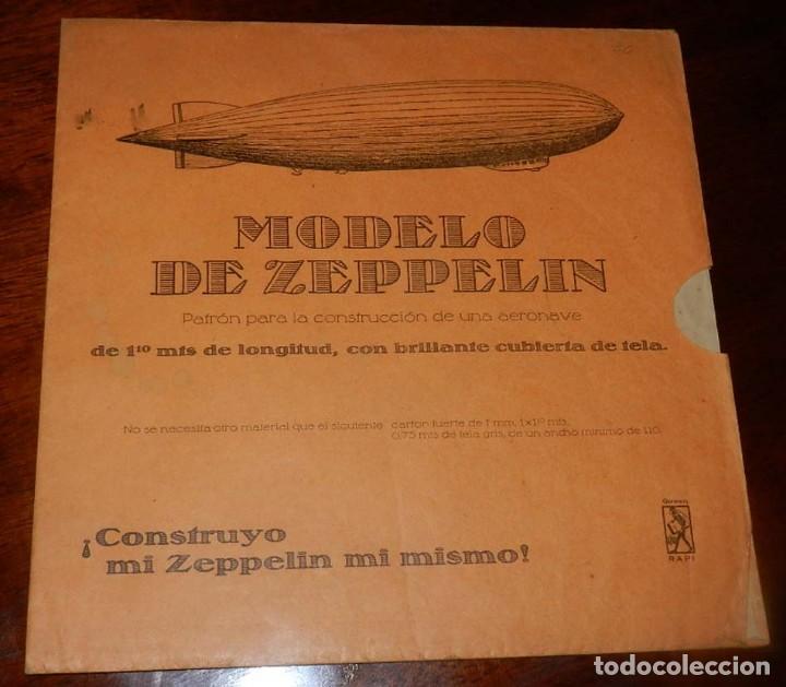ANTIGUO MODELO DE ZEPPELIN, PATRON PARA LA CONSTRUCCION DE UNA AERONAVE DE 1,10 METROS DE LONGITUD, (Coleccionismo - Otros recortables)