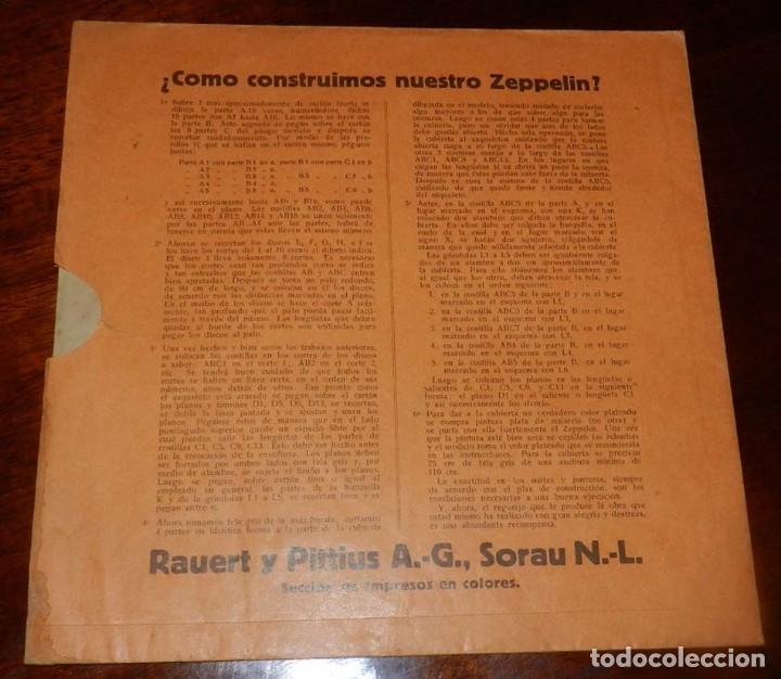 Coleccionismo Recortables: ANTIGUO MODELO DE ZEPPELIN, PATRON PARA LA CONSTRUCCION DE UNA AERONAVE DE 1,10 METROS DE LONGITUD, - Foto 2 - 154125866