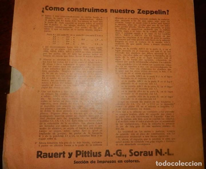 Coleccionismo Recortables: ANTIGUO MODELO DE ZEPPELIN, PATRON PARA LA CONSTRUCCION DE UNA AERONAVE DE 1,10 METROS DE LONGITUD, - Foto 9 - 154125866