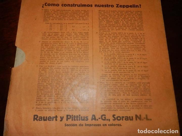 Coleccionismo Recortables: ANTIGUO MODELO DE ZEPPELIN, PATRON PARA LA CONSTRUCCION DE UNA AERONAVE DE 1,10 METROS DE LONGITUD, - Foto 10 - 154125866