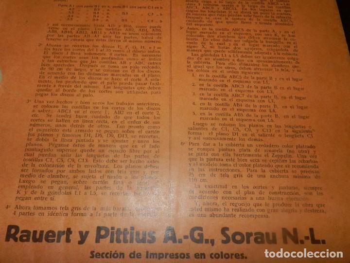 Coleccionismo Recortables: ANTIGUO MODELO DE ZEPPELIN, PATRON PARA LA CONSTRUCCION DE UNA AERONAVE DE 1,10 METROS DE LONGITUD, - Foto 12 - 154125866