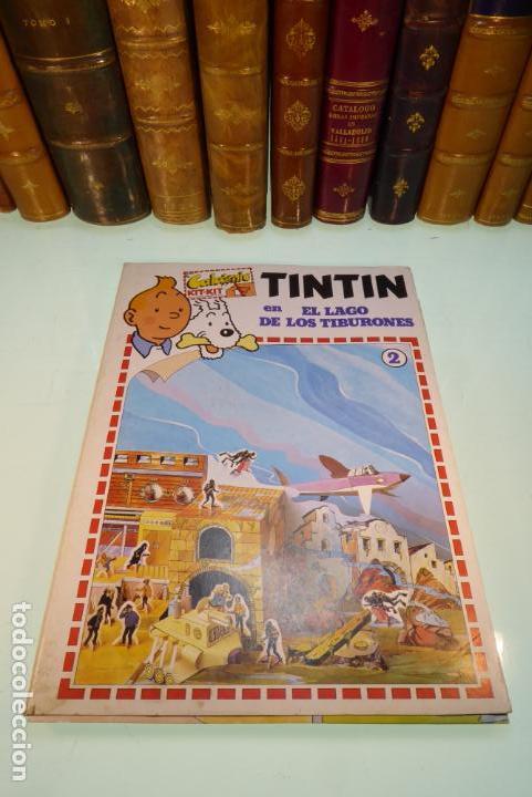 INTERESANTE KIT DE TINTIN CON TRANSFERIBLES Y ESCENARIO. TINTIN EN EL LAGO DE LOS TIBURONES. 1982. (Coleccionismo - Otros recortables)