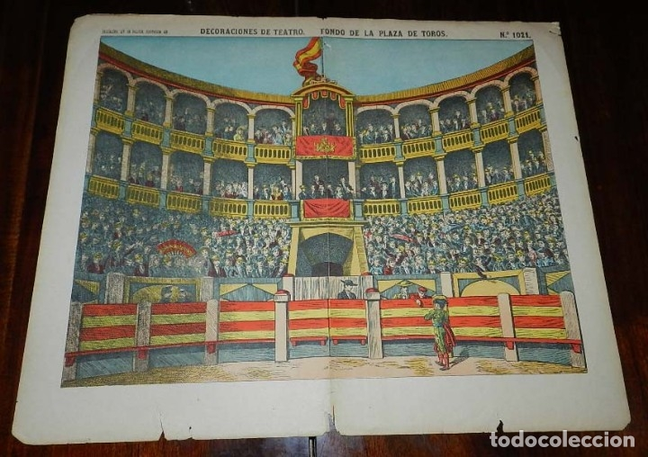RECORTABLE PALUZIE, DECORACIONES DE TEATRO, FONDO DE LA PLAZA DE TOROS , Nº 1021, 1878 - 1902, BARCE (Coleccionismo - Otros recortables)