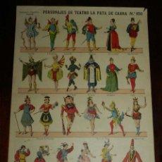 Coleccionismo Recortables: RECORTABLE PALUZIE, PERSONAJES DE TEATRO LA PATA DE CABRA, EPOCA ACTUAL Nº 850, ESTAMPERIA ECONOMICA. Lote 173369664