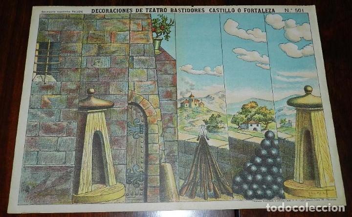RECORTABLE PALUZIE, DECORACIONES DE TEATRO BASTIDORES CASTILLO O FORTALEZA Nº 501, ESTAMPERIA ECONOM (Coleccionismo - Otros recortables)