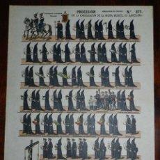 Coleccionismo Recortables: RECORTABLE ESTAMPERIA ECONOMICA PALUZIE, PROCESION DE LA CONGREGACION DE LA BUENA MUERTE EN BARCELON. Lote 173560433