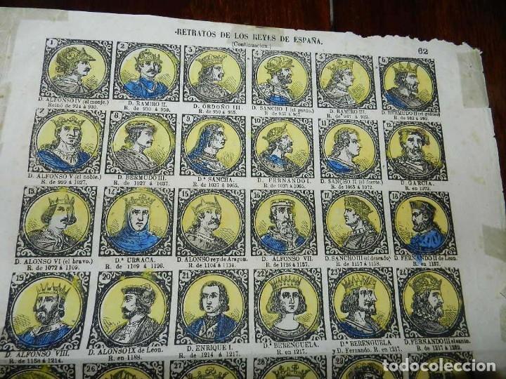 Coleccionismo Recortables: ANTIGUO RECORTABLE TIPO ALELUYA, AUCA, RETRATOS DE LOS REYES DE ESPAÑA, N. 62, MIDE 33,5 X 24,5 CMS. - Foto 2 - 173629119