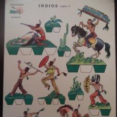 Coleccionismo Recortables: RECORTABLES ANREFER INDIOS LAMINA IV ALREDEDOR 1950 CARTULINA 35X25 XM. Lote 175259793
