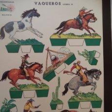 Coleccionismo Recortables: RECORTABLES ANREFER VAQUEROS LAMINA III CARTULINA AÑO 1950 25X35 CM. Lote 175260125