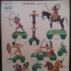 Coleccionismo Recortables: RECORTABLES ANREFER INDIOS LAMINA II CARTULINA AÑO 1950. Lote 175260472