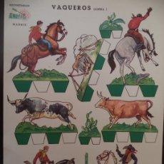 Coleccionismo Recortables: RECORTABLES ANREFER VAQUEROS LAMINA I CARTULINA AÑO 1950 35X25 CM. Lote 175260629