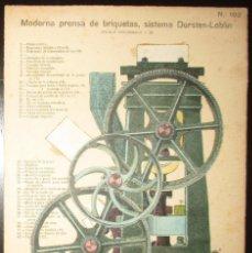 Coleccionismo Recortables: PRENSA DE BRIQUETAS DORSTEN-LOBLIN. LÁMINA 102 DE LA REVISTA EL MUNDO CIENTÍFICO. AÑOS 10/20.. Lote 175745305