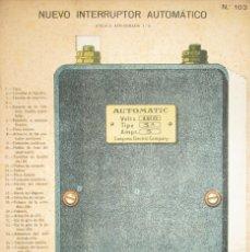 Coleccionismo Recortables: NUEVO INTERRUPTOR AUTOMÁTICO. LÁMINA 103 DE LA REVISTA EL MUNDO CIENTÍFICO. PRINCIPIOS SIGLO XX.. Lote 175746353