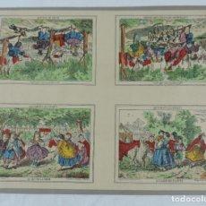 Coleccionismo Recortables: LITOGRAFIA DE PELLERIN A EPINAL, AMUSEMENTS DES ENFANTS, LE JEU DE LA CORDE, LE JEU DU VOLANT, ETC... Lote 176719575
