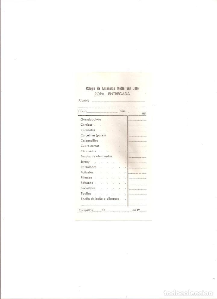 886. COLEGIO SAN JOSE. CAMPILLOS (MALAGA) TICKET PARA LAVADO DE ROPA AÑO 1970 (Coleccionismo - Otros recortables)