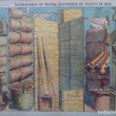 Coleccionismo Recortables: ESTAMPERIA ECONOMICA PALUZIE DECORACIONES DE TEATRO BASTIDORES DE PUERTO DE MAR Nº502. Lote 193910736