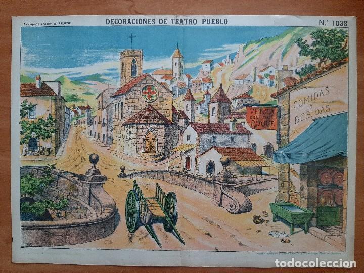 DECORACIONES DE TEATRO PUEBLO - ESTAMPERÍA ECONÓMICA PALUZIE Nº 1038 (Coleccionismo - Otros recortables)