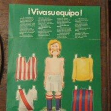 Coleccionismo Recortables: RECORTABLE PUBLICIDAD RIPOLIN. VIVA SU EQUIPO. JUGADOR DE FUTBOL.. Lote 201290545