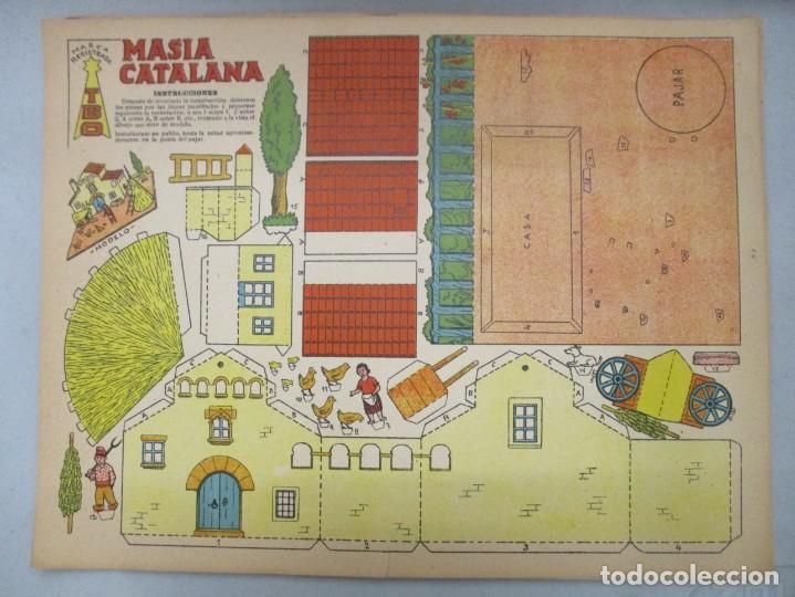 COLECCION RECORTABLES CONSTRUCCIONES / TBO / 4 LAMINAS / MASIA CATALANA / MOLINO DE VIENTO / CARRO (Coleccionismo - Otros recortables)