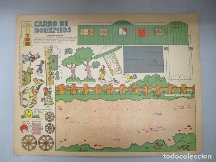 Coleccionismo Recortables: COLECCION RECORTABLES CONSTRUCCIONES / TBO / 4 LAMINAS / MASIA CATALANA / MOLINO DE VIENTO / CARRO - Foto 4 - 205115898