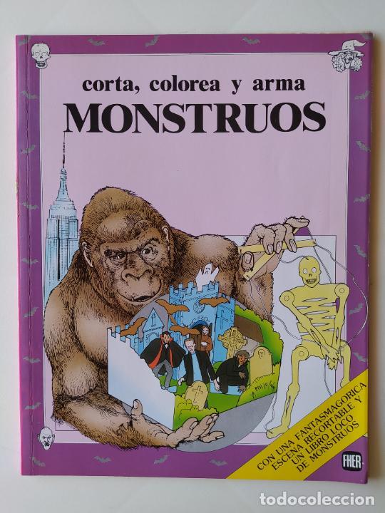 FHER. CORTA, COLOREA Y ARMA: MONSTRUOS + LIBRO LOCO DE MONSTRUOS YA MONTADO Y COLOREADO - 1988 (Coleccionismo - Otros recortables)