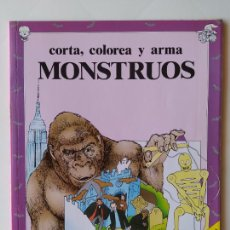 Coleccionismo Recortables: FHER. CORTA, COLOREA Y ARMA: MONSTRUOS + LIBRO LOCO DE MONSTRUOS YA MONTADO Y COLOREADO - 1988. Lote 213724546