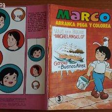 Coleccionismo Recortables: ARRANCA, PEGA Y COLOREA MARCO BRUGUERA MEDIANO 20X14 CM. Nº 3 AÑO 1977 SIN USO. Lote 221004952