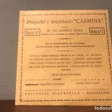 """Coleccionismo Recortables: ANTIGUOS SOBRES DE PLEGADO Y RECORTADO """" CARMINA """" AÑOS 50 - Mª DEL CARMEN SUILS - BARCELONA. Lote 225873480"""