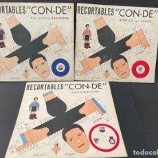 Coleccionismo Recortables: LOTE DE 3 REOCRTABLES - CON-DE (ATLETICO DE BILBAO - FUTBOL CLUB BARCELONA Y ESPAÑOL). Lote 241685330