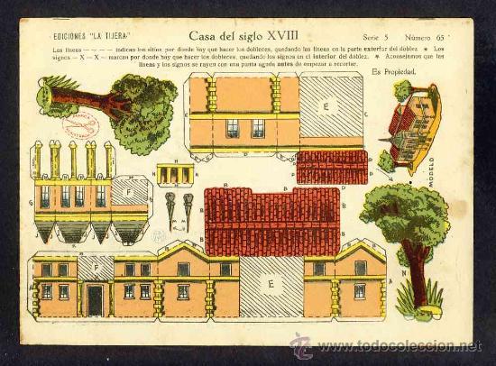 RECORTABLE DE CONSTRUCCIONES: CASA DEL SIGLO XVIII (ED.LA TIJERA SERIE 5 NUM.65) (Coleccionismo - Recortables - Construcciones)