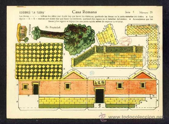 RECORTABLE DE CONSTRUCCIONES: CASA ROMANA (ED.LA TIJERA SERIE 5 NUM.28) (Coleccionismo - Recortables - Construcciones)