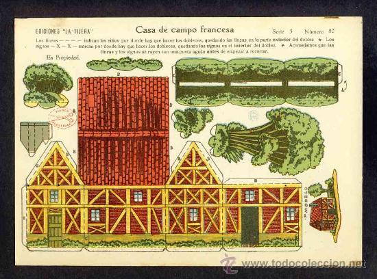 RECORTABLE DE CONSTRUCCIONES: CASA DE CAMPO FRANCESA (ED.LA TIJERA SERIE 5 NUM.82) (Coleccionismo - Recortables - Construcciones)