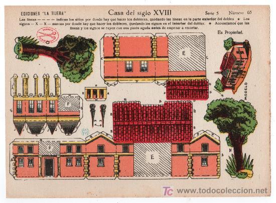 RECORTABLE EDICIONES LA TIJERA SERIE 5 Nº 65. CASA DEL SIGLO XVIII (Coleccionismo - Recortables - Construcciones)