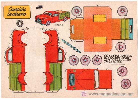 RECORTABLES BRUGUERA CAMION LECHERO. 1959 (Coleccionismo - Recortables - Construcciones)
