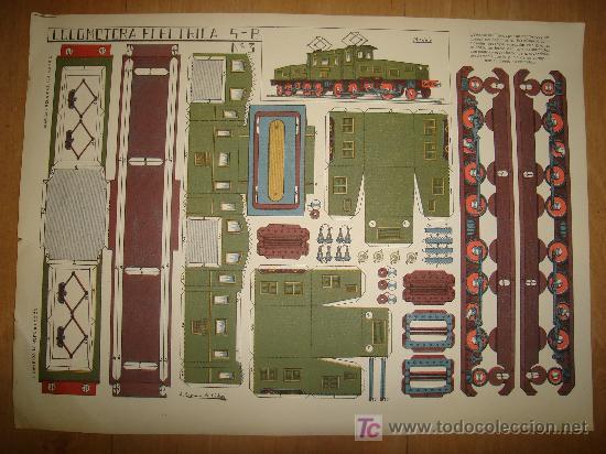 RECORTABLE LOCOMOTORA ELECTRICA 5-B Nº 3. GRAFICAS REUNIDAS. A. ROMERO DE CIDON (Coleccionismo - Recortables - Construcciones)