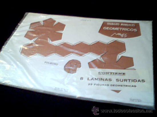 TRABAJOS MANUALES GEOMETRICOS. 8 LAMINAS SURTIDAS. EDITORIAL MAVES. AÑO 1975. 34 X 24 CMS. NUEVAS. (Coleccionismo - Recortables - Construcciones)