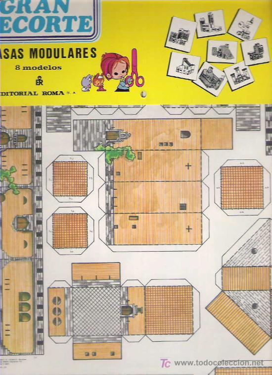 GRAN RECORTE - CASAS MODULARES 8 MODELOS - EDITORIAL ROMA 1979 EN SU FUNDA A ESTRENAR (Coleccionismo - Recortables - Construcciones)