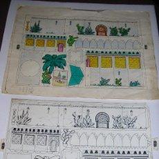 Coleccionismo Recortables: DIBUJO ORIGINAL PLUMA MEGRO Y PRUEBA DE IMPRESION NEGRO COLOREADA A MANO PARA MODELO DE IMPRESION . Lote 19511437