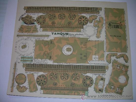 ANTIGUO RECORTABLE...TANQUE TORRETA GIRATORIA (Coleccionismo - Recortables - Construcciones)