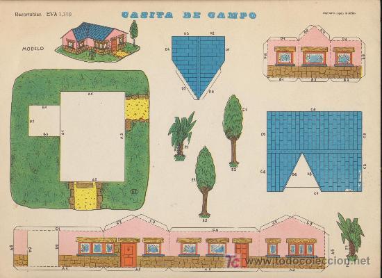LÁMINA DE RECORTABLES (22,5X30) CASITA DE CAMPO . RECORTABLES EVA Nº 1310. (Coleccionismo - Recortables - Construcciones)