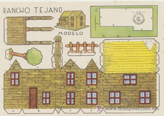 CONSTRUCCIONES ROSITA. RANCHO TEJANO .(12,5X17,5) EDITORIAL ROMA. (Coleccionismo - Recortables - Construcciones)